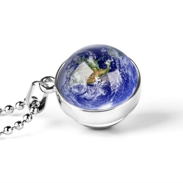 Glas Ball Halskette Erde Doppelseitige Anhänger