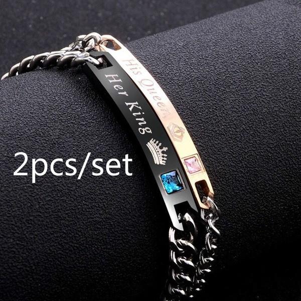 Ein Paar Armbänder Edelstahl-Armband Pärchen-Armband Armband für Paare Geschenk Her king & His queen