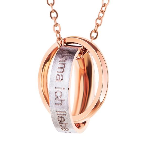 Edelstahl Halskette Damen Frauen Silber Rosegold mit Anhänger mit Gravur Mama, Ich Liebe Dich